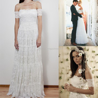 off white lace bridal wedding dress - Bohemian Wedding Dresses Amazing A Line Beach Bridal Gowns Sheer Backless Off Shoulder White Lace Pleated Floor Length Wedding Dress GM