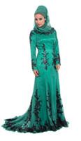 Cheap Long Sleeves Lace Beaded Silk Amira Formal 2014 Turkey Hijab Abaya in Dubai kaftan Dress Emerald Green Muslim Evening Dress