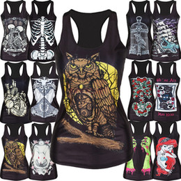 Wholesale Punk Fashion Colors Women s Tops D Painting Skull Bone Print Camisole Vest Tanks Crop Blusas Femininas Top T Shirt Women SV002015