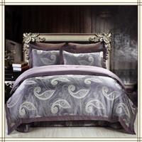 Wholesale Hot Sale Luxury Bedding Set Purple Grey Jacquard Silk Satin King Queen Size Embroidery Duvet Cover Set