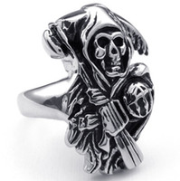 wholesale biker jewelry - Gothic Men s Sons of Anarchy L Stainless Steel Punk Biker Finger Ring Jewelry Gift Price