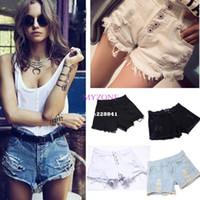 Cheap HotSale Summer Women Vintage retro High waist shorts jeans Ripped Hole short jeans slim denim female cutoffs shorts B9 SV004437