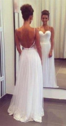 sexy summer spaghetti white chiffon summer beach wedding dresses floor length new design custom made high quality