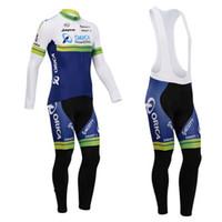 al por mayor orica verde-New-2014 Orica GREEN EDGE Pro bicicleta de ciclismo equipo de ciclo de manga larga de ciclismo Jersey y (babero) pantalones de ropa de bicicletas Breathable Quick Dry TAMAÑO: S-3XL # 03