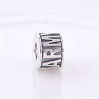 Wholesale Original Sterling Silver Charms Thread LE ARMY Letter ARMY Stampe Crimp End Vintage Beads Compatible With Pandora Bracelet