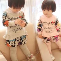 Autumn Baby Boys Girls 2pcs Sets Cotton Mickey Minnie Long S...