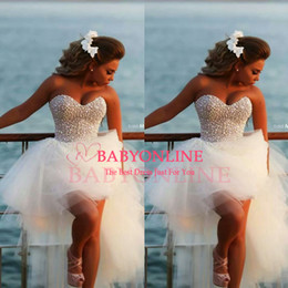 2019 Luxury Ball Gown Wedding Dresses Hi Lo Tulle Crystals Beaded Beach Summer Bridal Gowns BO6740