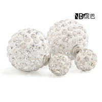 Wholesale New fashion hot selling double side Crystal stud earrings wedding women accessories crystal earrings