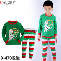Wholesale 2014 Caluby children frozen christmas and Halloween pajama sets olaf snow printed tops stripe pants boy boys sleepwear suit red green color