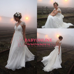 Wholesale Bohemian V Neck Cap Sleeves Empire Chiffon Wedding Dresses Plus Size Crystal Lace Sheer Backless Wedding Dress Bridal Gowns BO6734