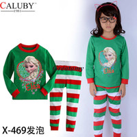 Wholesale New girls frozen pajama sets for christmas and Halloween wear elsa printed tops stripe pants girl sleepwear suit children s leisure wear