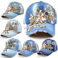 Cheap Wholesale New Fashion Jean Women hats Adjustable baseball cap snapback casual Rhinestones Flowers caps b14 SV005353