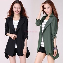 Wholesale Plus Size Women s Autumn Trench Slim Fresh Style Green Coat Long Pocket Overcoat Lady All Match Black Outerwear Trenches SV003267