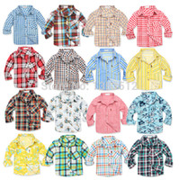 Cheap 2014 new 12 18 24 months baby boys Girls shirts cotton plaid child's clothes long sleeve children clothing autumn summer spring