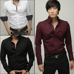 Wholesale New Fashion Men s Office Shirts Slim Dress Shirt Single Breasted Men Formal Colors Elastic Casual Clothing Fit Stylish Style