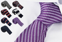 Wholesale Men s Knitting Wool Neck Ties High Quality Woolen Narrow Design Flat end Neck Ties jacquard Party Neck Ties for Men
