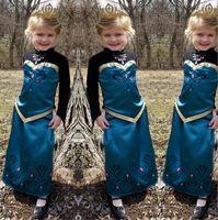 Cheap NEW Girls Frozen Party Dresses Baby Elsa Anna Dress Romance Tong snow suit costume dress Flower Dress Christmas Children Dresses