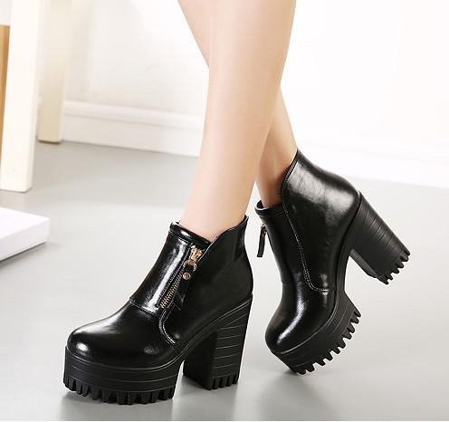 Women booties shoes 2015 new arriva autumn winter fashion martin boots thick heel ankle boot genuine