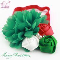 Wholesale 12pcs Baby girl Christmas headbands chiffon flower headband for Newborn kids hair Accessories white red headband L52