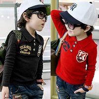Cheap 2014 Autumn Korean version of the new children's baby chest marked Boys long-sleeved T shirt lapel shirt tx-1381