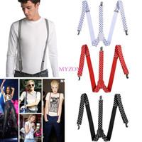 Wholesale Promotion New Women Men Clip on Elastic Suspenders Y Shape Adjustable Braces Dot Pattern Trouser Braces SV004526