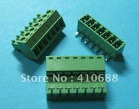 Wholesale 60 Angle pin way Pitch mm Screw Terminal Block Connector Green Color Pluggable Type with angle pin