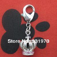 ab crowns - Pink crystal AB rhinestones crown charm DOG collar charm pet jewelry