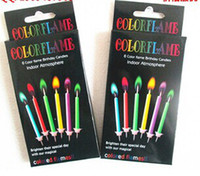 The birthday party cake for color flame birthday candle 6 ci...