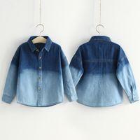 Wholesale 2014 Autumn Korean version of the new gradient Boys Girls Children s long sleeved denim shirt shirt tx