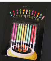 Color flame birthday candle suction card 10 pack festival co...