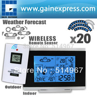 Cheap 20 pieces x Digital Indoor Outdoor Wireless Weather Station Temperature Humidity Remote Sensor Date Radio Controlled Clock DST