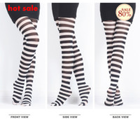 Cheap Free Shipping Black and White Stripes Leggings,Milk Silk Fashion 70D Pantyhose,Europe Street Fancy Promotion 3Pcs Lot
