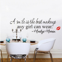 Cheap A Smile is the Best Makeup Any Girl Can Wear MARILYN MONROE Decoration Decor Room Bed Room Free Shipping