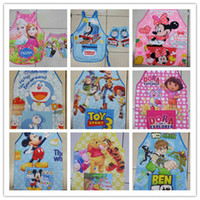 Wholesale 16 Styles Cartoon Aprons With Oversleeve Frozen Elsa Princess Sofia Cars Train KT Dora Children Girls Cooking Pinafore Kitchen Apron A924
