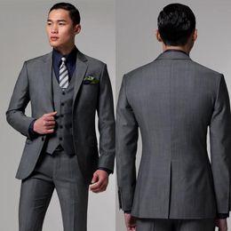 Wholesale Hot Recommend Center Vent Two Button Dark Grey Groom Tuxedos Notch Lapel Groomsmen Best Man Mens Wedding Suits Jacket Pants Vest Tie NO