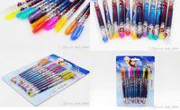 Wholesale boxes Frozen Gel Pen Shining Glitter Ballpoint Writing Stationery Set Multi Color Pens Xmas children gift