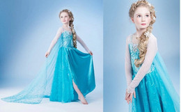 Wholesale Free shpping girls elsa costumes halloween fantasy dress costumes frozen princess costumes for kids wholsa CXCC