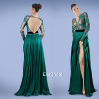 Cheap A-line Peacock Green Chiffon Prom Dresses Split Side Hollow Back Appliques Bateau Long Sleeve Stunning Formal Gowns Pageant Dress 317163