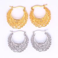 Wholesale Vintage Earrings Women Gift Fashion Jewelry K Real Gold Plated Basketball Wives Jewelry Fancy Hoop Earrings E6771
