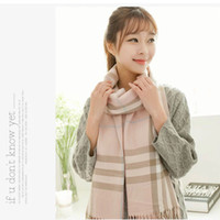 scarf material - 2014 Classic Women s PLAID Pashmina Scarf Female Shawls Wrap Imitated Cashmere cm Thick Material Winter Warm Tassels Scarf