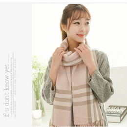 Wholesale 2014 Classic Women s PLAID Pashmina Scarf Female Shawls Wrap Imitated Cashmere cm Thick Material Winter Warm Tassels Scarf