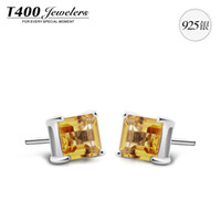 Cheap T400 Natural Brazilian Citrine S925 silver earrings small earrings sweet attract women with jewelry