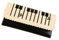 Wholesale New Trend Women Piano Wallet Keyboard Style Music Note Long Design Lady Purse Black White Color Available