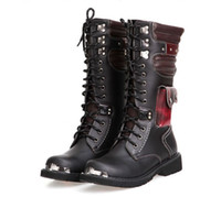 Wholesale DHL Mens Boots Cool Rivet Knee Boots Heighten Boots Outdoor Army Leather Boots Men Shoes New Arrival big sizes Cheapest