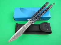 Wholesale Black Hanlde Butterfly BM42 knife Imitation of Damascus steel blade Balisong knife Outdoor survival tactical knife knives with nylon bag