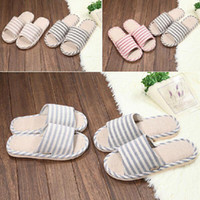 Cheap Wholesale-New 2014 summer Slippers shoes for men and women couple striped home indoor floor slippers bottom family slippers