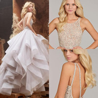ball gowns designs - 2016 new design Unique Desige Hayley Paige Wedding Dresses Sexy Backless Sheer Jewel Neck Floor Length Ball Gown Organza Bridal Gowns