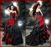 red and black wedding dresses - 2014 Red and Black Gothic Halloween Wedding Dresses Lace Tulle Taffeta Bow Ruffles Sweetheart A Line Bridal Gowns Custom Made W339