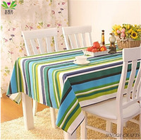 Wholesale Fresh green stripe multi size tablecloths cotton hand knitting household table decorating fabric ls1002