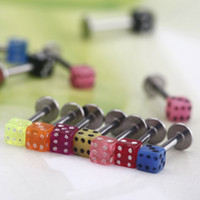 Wholesale New set Colorful Stainless Steel Dice Lip Rings Bars Labret Stud Piercing Jewelry H11556